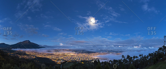 View to Ibarra, full moon, Blue hour