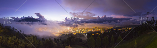 Imbabura Province, Ibarra, blue hour and fog, Panorama