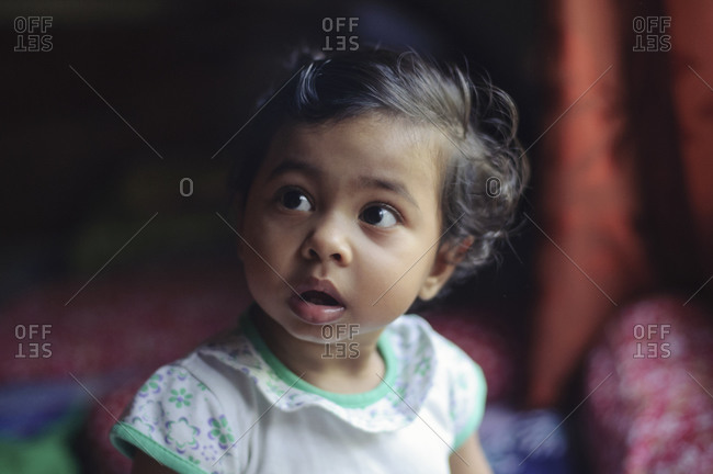 Little girl staring in amazement