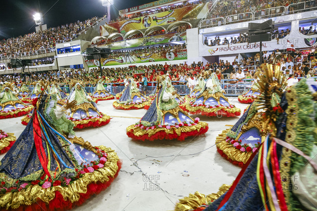 Rio de Janeiro, Brazil - February 15, 2010: Dancers and spectators during Carnival celebration