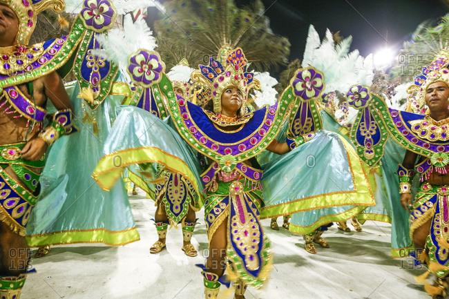 Rio de Janerio, Brazil - February 15, 2010: Dancers in elaborate Carnival parade in Sambodrome, Brazil