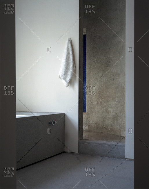 London, England, United Kingdom - March 11, 2009 - Austere bathroom in residential building