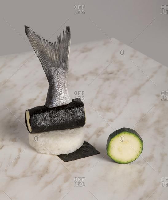 Raw fish tail on sushi ingredients