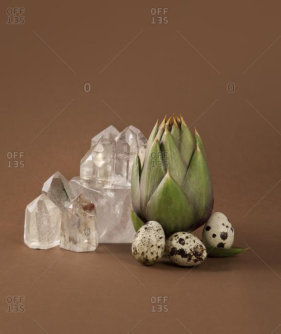 Quartz, egg, and artichoke