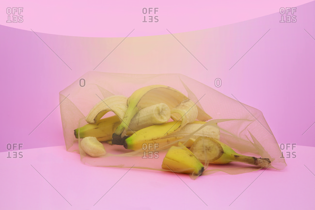 Banana pieces under gauze material