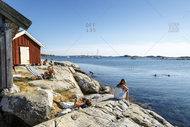 July 20, 2014: People by the sea at Koster Islands, Vastra Gotaland region, Sweden