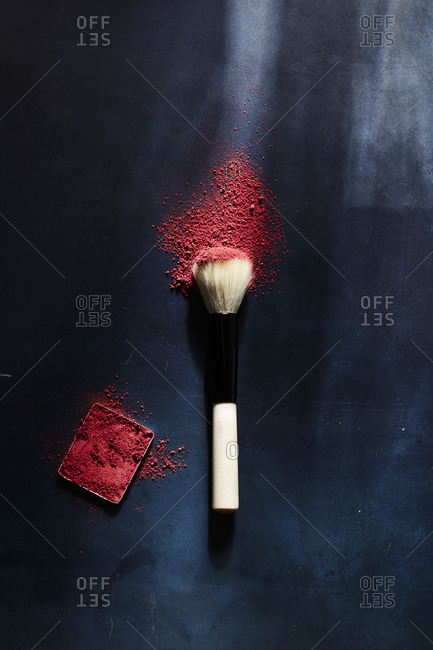 Makeup brush with powdered blush