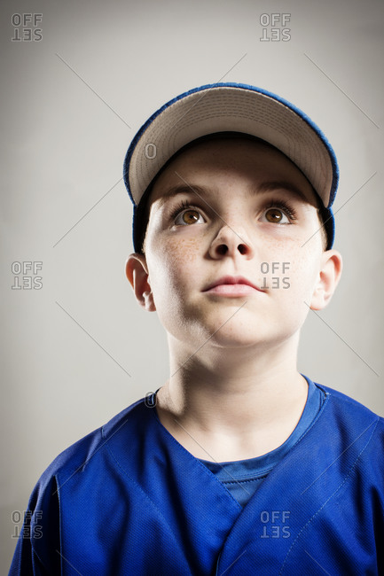 A youth leaguer looks up