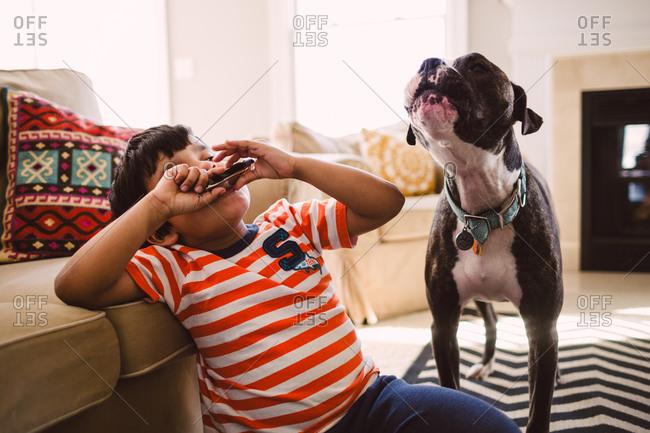 Boy playing harmonica making his dog howl