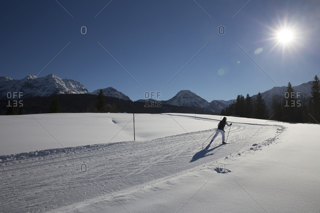 Woman cross country skiing alone through sunny rural trail