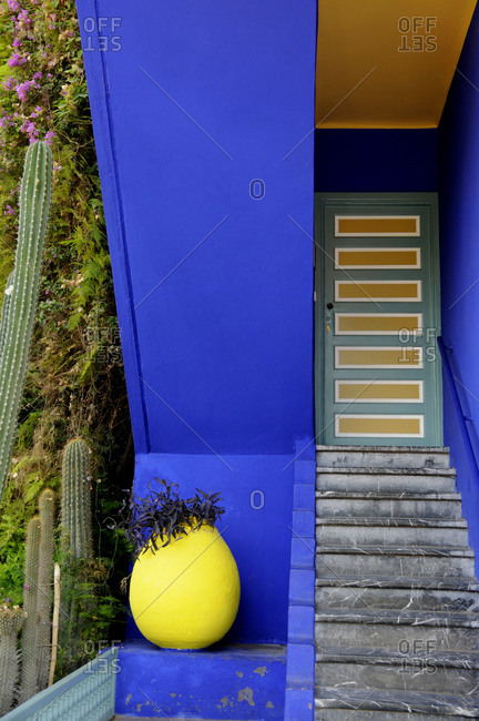 Marrakech, Morocco - June 27, 2013: Colorful and unique exterior of Jardin Majorelle in Marrakech