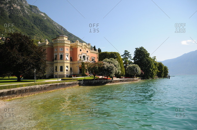Lombardy, Italy - July 28, 2011: A hotel on Lake Garda in Italy
