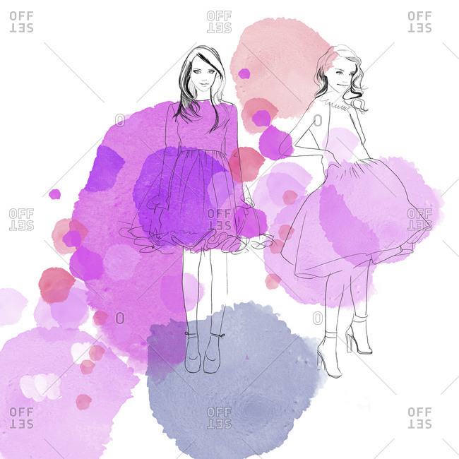 A fashion illustration with purple dots