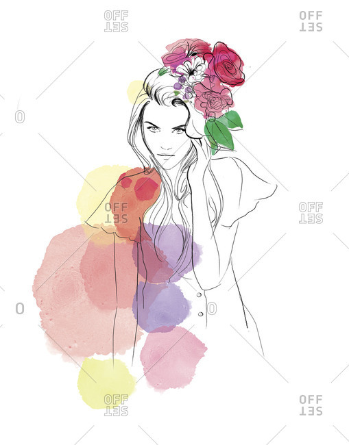 Women with a bouquet of flowers in her hair