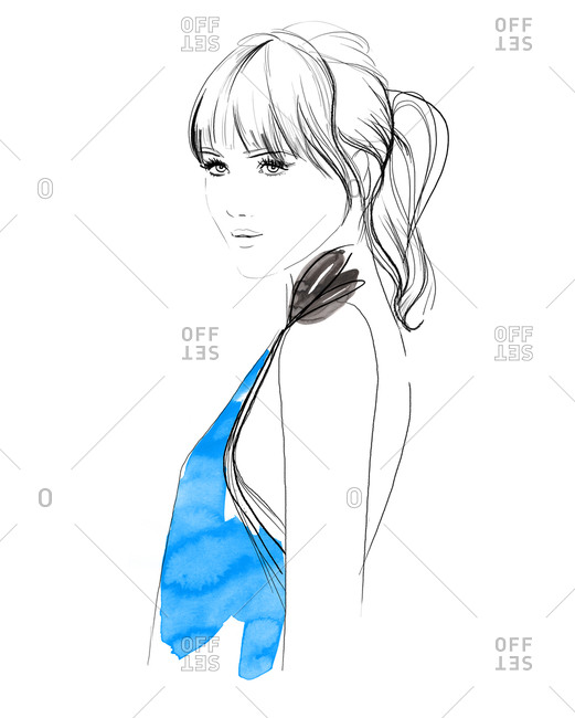 An illustration of a woman in a blue shirt
