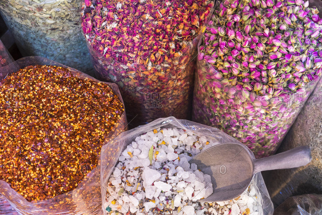 Dried flowers and spices at Dubai Spice Souk