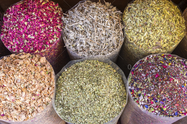 Dried flower petals and herbs at Dubai Spice Souk