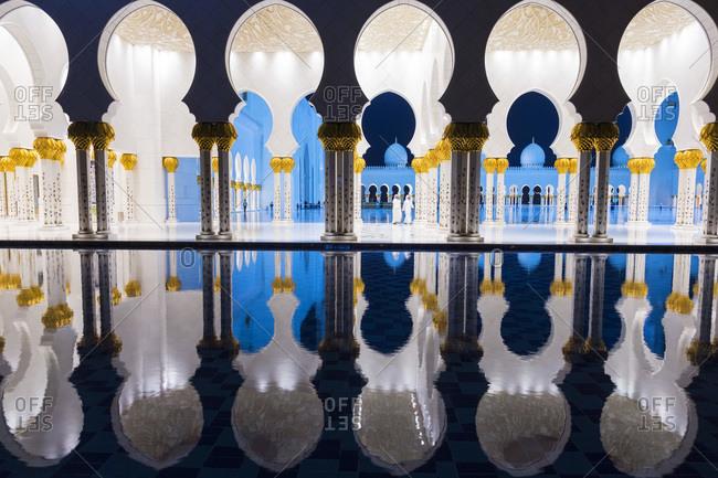 Abu Dhabi, United Arab Emirates - December 4, 2014: Sheikh Zayed Mosque at night in Abu Dhabi, United Arab Emirates