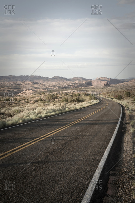 Road going through Arches National Park near Moab, Utah