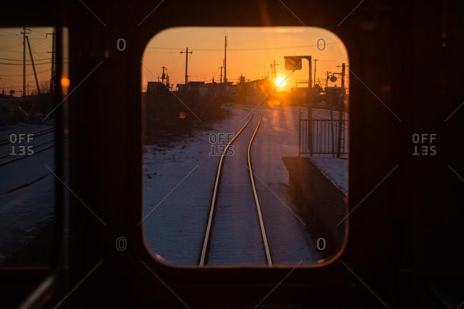 Sunset seen from a train in Tokachi, Japan