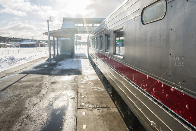 Train in the Kawakami District of Hokkaido, Japan