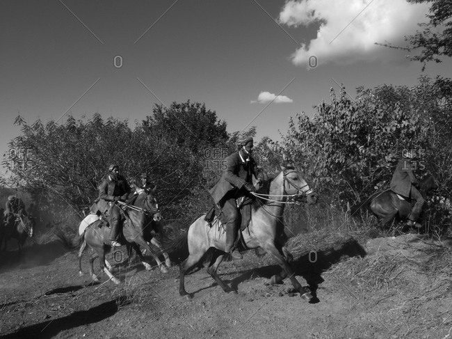 Serrita, Pernambuco, Nordeste, Brazil - July 25, 2009: Cowboys gallop through a dusty field together