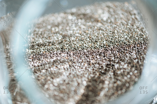 Container of chia seeds for smoothies