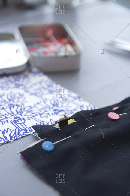 Close up of fabric pieces pinned together