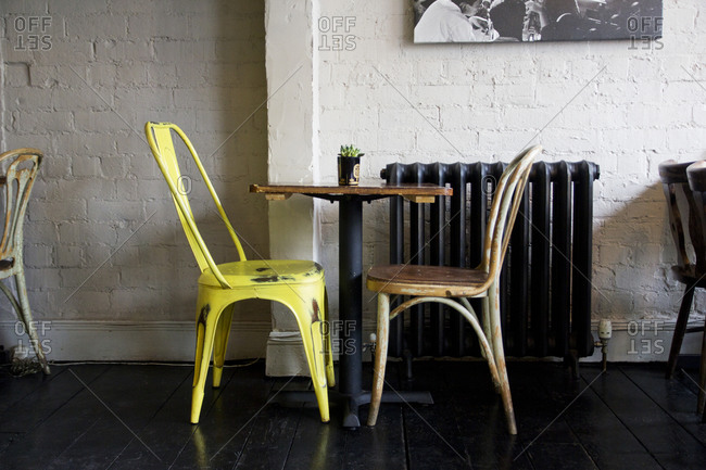 Mismatched furnishing in quaint cafe