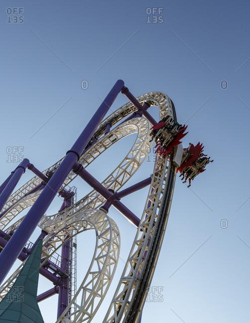 Stockholm, Sweden - July 25, 2014: Roller coaster at an amusement park in Sweden