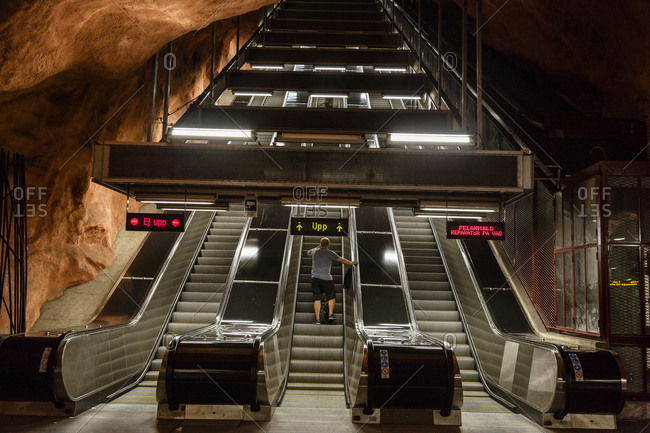 Escalators at metro station in Stockholm