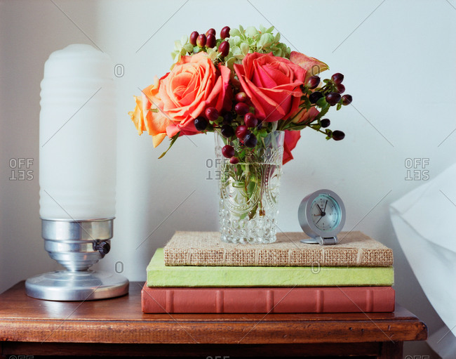 A tastefully decorated nightstand