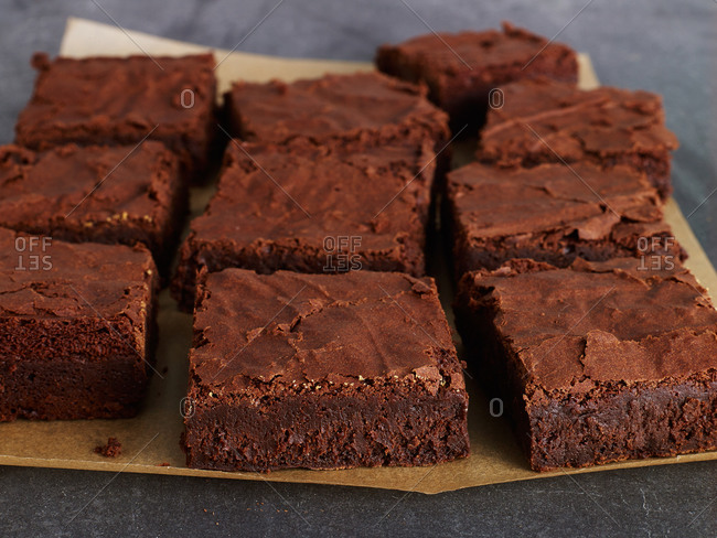 Brownies on brown parchment paper
