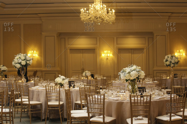 A banquet hall decorated for a wedding