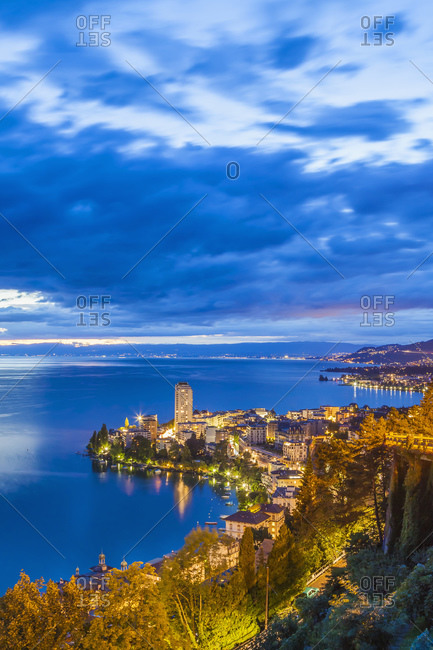 Lakeside city of Montreux at dusk