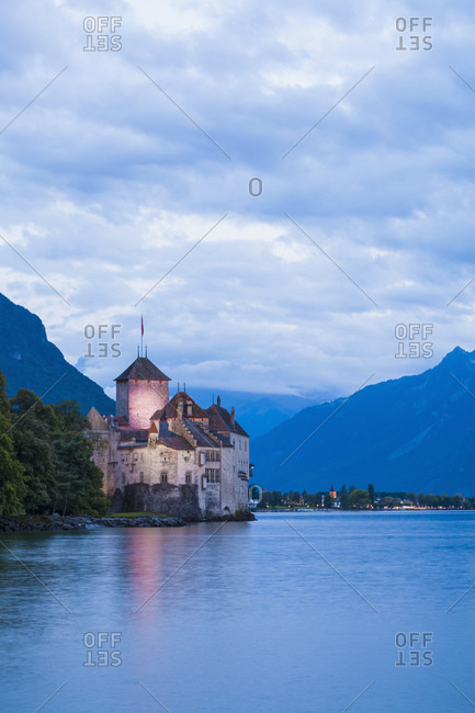 Chillon Castle in the evening