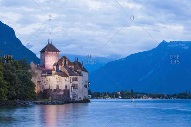 Chillon Castle at dusk