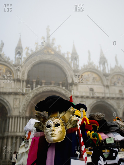 A stall selling carnival masks and hats, Venice