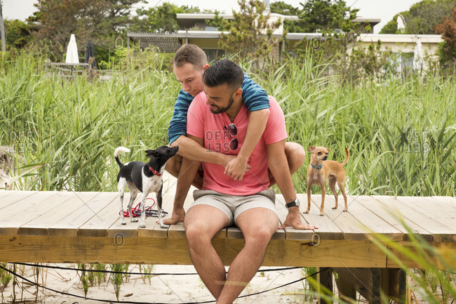A couple hugs on a boardwalk with their Chihuahuas
