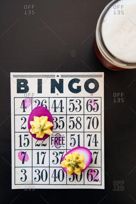 Deviled eggs on a bingo board