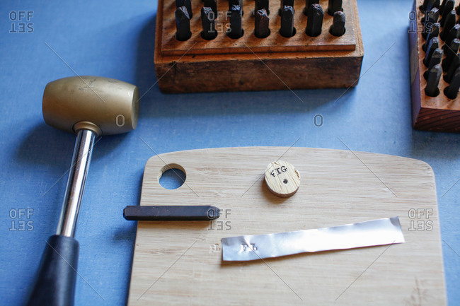Engraving tools on a table