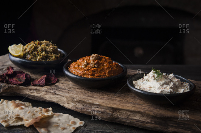 Three different types of Lebanese dips