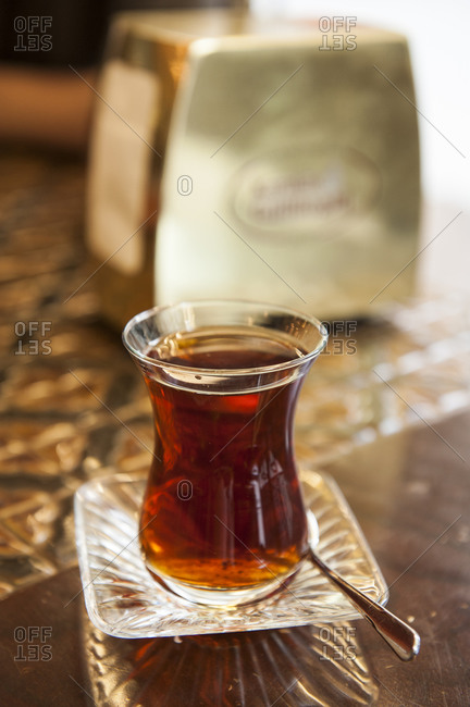 Hot tea served in a Turkish bakery