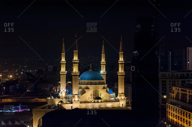 The Mohammed Al-Amin mosque in Beirut, Lebanon at night