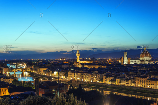 Florence at dusk, Italy - Offset