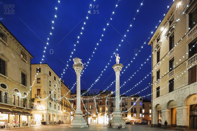 December 10, 2014: Christmas decorations in Piazza dei Signori, Vicenza, Italy