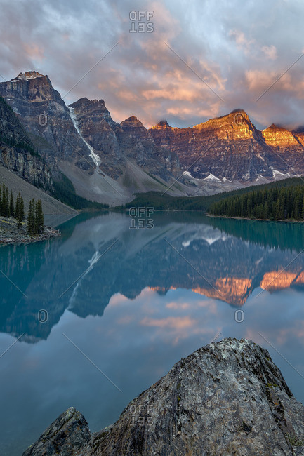 Moraine Lake at sunrise in Banff National Park, Canada