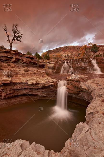 Secret Falls at sunset, Utah, United States of America