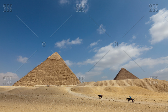 The Pyramid of Khafre and the Great Pyramid in Giza, Egypt