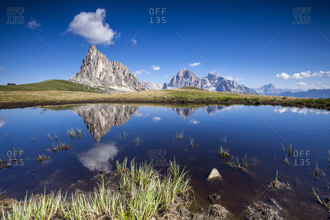 The Gusela peak and the Tofane Group at Passo Giau, Italy